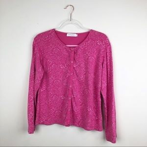 Fresh Produce Pink Floral Snap Up Cardigan Large L